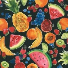 Robert Kaufman Metro Market AMZ 15107 2 Black Fruit Cotton Fabric BTY