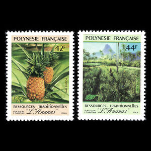 """French Polynesia 1991 - Traditional Resources """"The Pineapple"""" - Sc 555/6 MNH"""