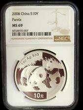 2008 China Panda 10 Yuan Ngc Ms69 1 Ounce Silver Coin Early Holiday Sale!