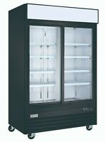 VORTEX Commercial 2 Sliding Glass Door Refrigerator in Black - 45 Cu. Ft.