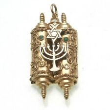 Vintage 14k yellow white gold Torah pendant Star of David Menorah 3D filigree