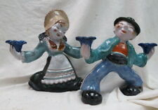 1930 era pair signed figural pottery / marked Leopold Anzengruber candle holders