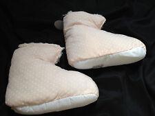 AVON KRYSTEN SLIPPER BOOTS - PINK/WHITE SPOTS FUR LINED SZ 3/4 - CHRISTMAS GIFT