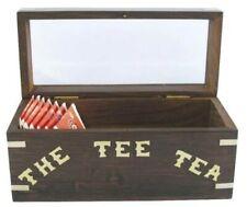 Teebeutel-Box aus Holz mit Messingintarsien und Glasdeckel für  Teebeutel