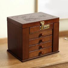 5 Layer Vintage Wooden Storage Box Jewelry Treasure Chest Organizer w/ Mirror Us