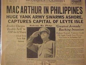 VINTAGE NEWSPAPER HEADLINES~WORLD WAR 2 Mac ARTHUR RETURNS PHILIPPINES WWII 1944