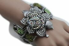 Women Cuff Bracelet Fashion Jewelry Silver Metal Big Chunky Rose Flower Floral