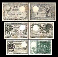 2x 50, 100, 500 Pesetas - Edición 1902 - 1903 - Reproducción - 33