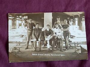 VINTAGE WW 1 ERA REAL PHOTO POSTCARD,  MESS STAFF D.COY NORTHAMPTONS