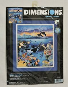 """Dimensions Gallery Crewel Kit #1521, """"Orca's Realm"""""""