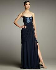 Hoaglund Navy Chiffon Embellished Formal Gown Dress Size 8 NWT