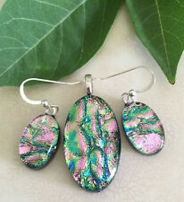 Pink Wavy Pattern Handmade Fused Dichroic Art Glass Jewelry Matching Set