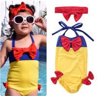 Kids Girls Bikini Swimwear Snow White Swimming Bathing Suit Swimsuit Sets 2-7Y