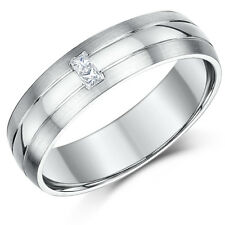 9ct White Gold Diamond Wedding Ring 6mm Princess Cut Ring
