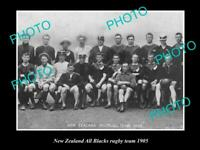 OLD POSTCARD SIZE PHOTO OF THE NEW ZEALAND ALL BLACKS RUGBY UNION TEAM 1905