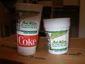Lot of 2 1988 Oakland A's Bash Brothers Jose Canseco Mark McGwire Drinking Cups