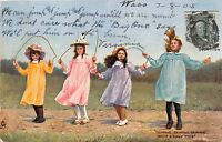 WHAT A JOLLY TIME~4 GIRLS SKIPPING ROPE~ TUCK FUN & FROLIC #6236 POSTCARD c1905