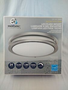 """Energetic Lighting 14 """" Double Ring LED Flush Mount Dimmable Ceiling Light 24w"""