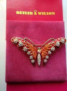 Butler & Wilson Crystal & Enamel Butterfly Brooch