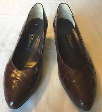Genuine Eel Skin Hand Made Womens Size 10 Brown Pumps Heels Career Dress Shoe