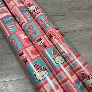 3 Rolls HELLO KITTY Christmas GIFT Wrapping Paper 45 Sq Ft Each New