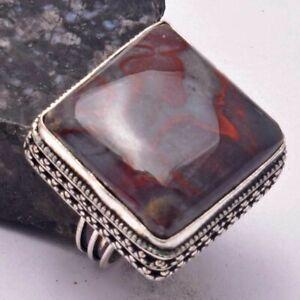 Bloodstone Ethnic Handmade Antique Degin Ring Jewelry US Size-8 AR 32904