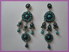BOUCLES D'OREILLES argentées avec perles bleues C&C bijou fantaisie