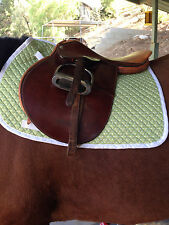 METRIZE PONY/ARABIAN ENGLISH QUILTED SADDLE PAD - GREEN W WHITE POLKA DOTS-SALE!