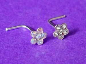 stunning silver 4 mm CLEAR  or AB crystal flower L shaped pre bent nose stud