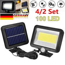 100 LED Solarleuchte Solarlampe mit Bewegungsmelder Außen Fluter Wandstrahler DE