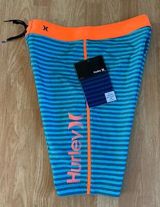 New NWT Blue & Orange Hurley Waldorf Obsidian Striped All Over Surf Board Shorts