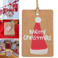 100Pcs Marry Christmas Kraft Paper Tags Labels Xmas Gift Wrapping Card Decor