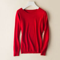 New Women's Round Neck Cashmere Wool Blend Sweater Pullover Knitwear Casual Tops