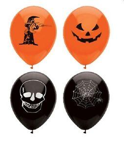 12 HALLOWEEN BALLOONS Skull TRICK TREAT COBWEB Decorations PARTIES PARTY SPOOKY