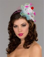 Womens Cute White Pink Sprinkles Clown Mini Costume Pastel Cupcake Top Hat