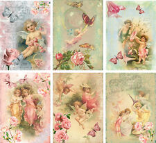 Vintage inspired angel fairy small note cards tags set 6 with envelopes
