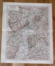 1899 ORIGINAL ANTIQUE MAP OF HESSE HESSEN VOGELSBERG MANNHEIM GERMANY