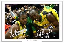 Usain Bolt & yohan Blake Giamaica 100 METRI AUTOGRAPH SIGNED FOTO STAMPA POSTER