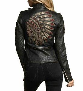 Women Black Premium Divergent Biker Native American Leather Jacket