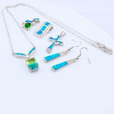 5PCS Wholesale Lots Mixed Party Gift Silver Fire Opal Pendant Earring S041