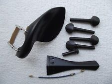 Ebony 4/4 violin parts(pegs,chin rest,tail piece.)