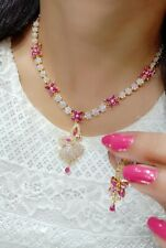 Indian Pakistan Bollywood American Diamond Necklace Earings Gold Plated Party