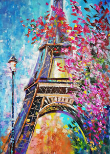 1000 Pcs Watercolor Oil Painting Eiffel Tower Jigsaw Adult Kid Educational Toys