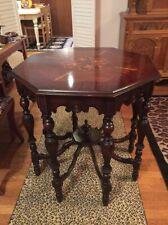 Antique Vintage Rare Stunning Mersman Octagon Inlaid Top Table Ornate Twist Legs