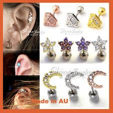 Opal Gem Ear Climber Helix Tragus Cartilage Ring Bar Stud Piercing Post Earring