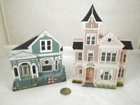 Shelia's Collectible Miniature Wooden Houses 2pc 1992 Young-Larson & Pitkin CA S