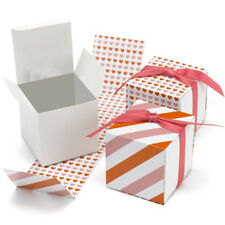 New Hbh Reversible Pink and Orange Hearts & Stripes Favor Boxes 25 pc.