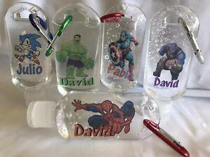 Empty personalised Travel Bottles sanitiser gel 30ml Keyring carabin marvel