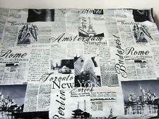 Bed Lam Passport Fabric Shower Curtain Black White Newsprint LOFT Style New
