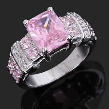 Fashion Size 7 Pink Sapphire Costly Solitaire 18K Gold Filled Ring Women Rings